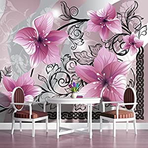 Pink flowers on grey background pattern wallpaper mural for Amazon mural wallpaper