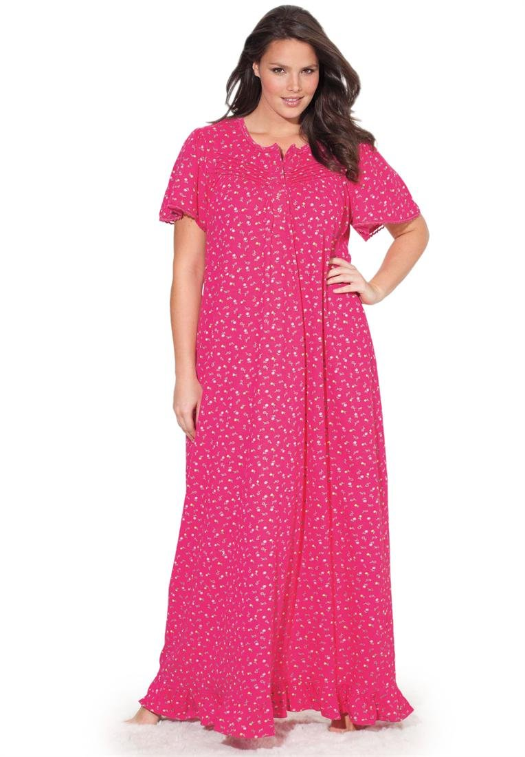Dreams & Co. Women's Plus Size Long Cotton Knit Gown By Dreams & Co