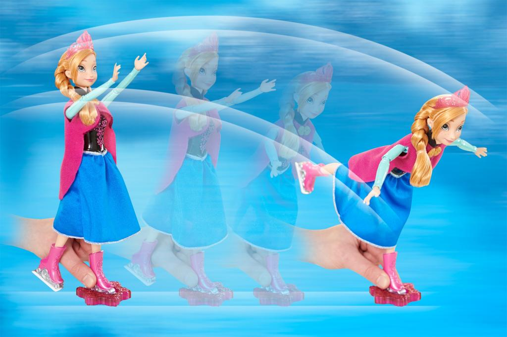 Guide Anna doll forward, and her arms and legs move in elegant ice