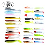 Non-Branded Multicolor Easy Shine 3D Baitfish Soft Plastic Bait for Fishing Lure,Suspend and Sinking Soft Swimbait for Bass(32pcs of 4 pack/4 Type Soft Lures /Multicolor) (Color: Multicolor)