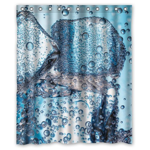 Custom Unique Design Colorful Water Drops Waterproof Fabric Shower Curtain, 72 By 60-Inch front-632599