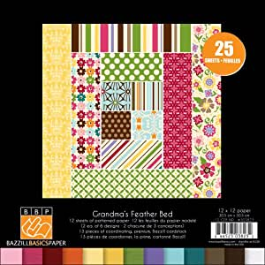 Bazzill 12-Inch by 12-Inch Grandma's Feather Bed Multi-Pack, 25-Sheet