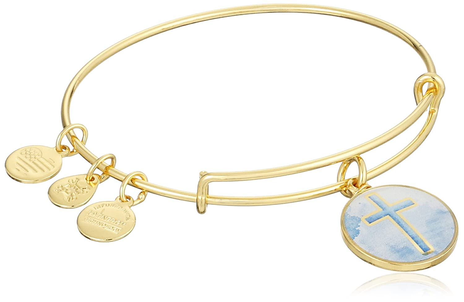 Alex and Ani Art Infusion Cross EWB Rafaelian Yellow Gold Bangle Bracelet