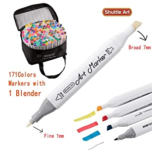172 Colors Dual Tip Alcohol Based Art Markers,171 Colors Plus 1 Blender Permanent Marker Pens with Case Perfect for Kids Adult Coloring Books Sketching and Card Making (Color: 172 Colors Art Markers)