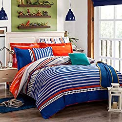 QzzieLife 4pc Bedding Duvet Cover Sets Orange Blue Striped Size Queen
