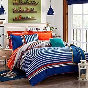 qzzielife 100 cotton 4pc bedding duvet cover sets orange blue striped size queen. Black Bedroom Furniture Sets. Home Design Ideas