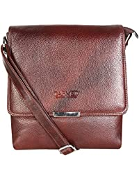 CARVED Genuine Leather Unisex Sling Bag / Cross Body Bag / Messenger Bag - Brown