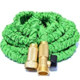 TRIPLE LAYER LATEX CORE, Green Expandable Garden Hose, Won't Leak, Won't Burst, Strong Brass Connectors (Not Plastic), 100% Customer Satisfaction Warranty - 75 ft