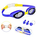Swimming Goggles for Kids Swim Goggles Anti-Fog No Leaking UV Protection with Case Nose Clip and Earplugs for Boys Girls Youth Children (blue)
