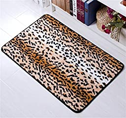 Amariver Coral Velvet Cheetah Rug Animal Print Rectangle Door Mat Leopard Print Kitchen Rug Bedroom Carpet Super Soft Hallway Mat Anti-slip Bath Mats (3HK037)