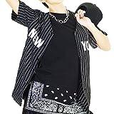 ★HD58411 NEWYORKベースボールシャツ M ブラック | ダンス 衣装 ヒップホップ 半袖 黒 白