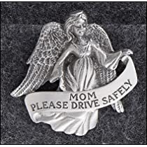 Mom with Angel Visor Clip for Automobile, Pewter