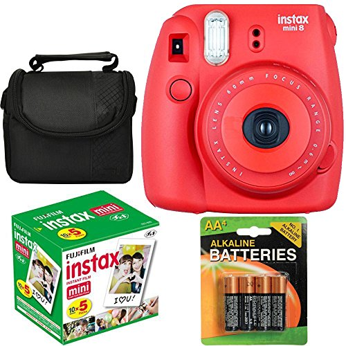 Fujifilm Instax Mini 8 Instant Film Camera (Red Raspberry) With Fujifilm Instax Mini 5 Pack Instant Film (50 Shots) + Compact Bag Case + Batteries Top Kit (Import No us Warranty)