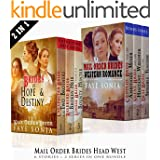 Mail Order Brides Head West 6 BOOK Boxset : Clean and Wholesome Romance 2 Series Bundle- Includes One Unpublished NEW SERIES