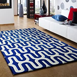 area rug, Hand Tufted , Royal Blue, White filling, Soft and Fuzzy rug ...