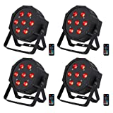 Stage Lights, 4 IN 1 RGBW 7LEDs (4pcs) x10W Led Par Lights by DMX 512 IR Remote Control and Sound Activated for Club Disco Lights Party Ballroom KTV Bar Wedding DJ Live Show Christmas Party (Color: RGBW, Tamaño: 7 LED Stage lights pack)