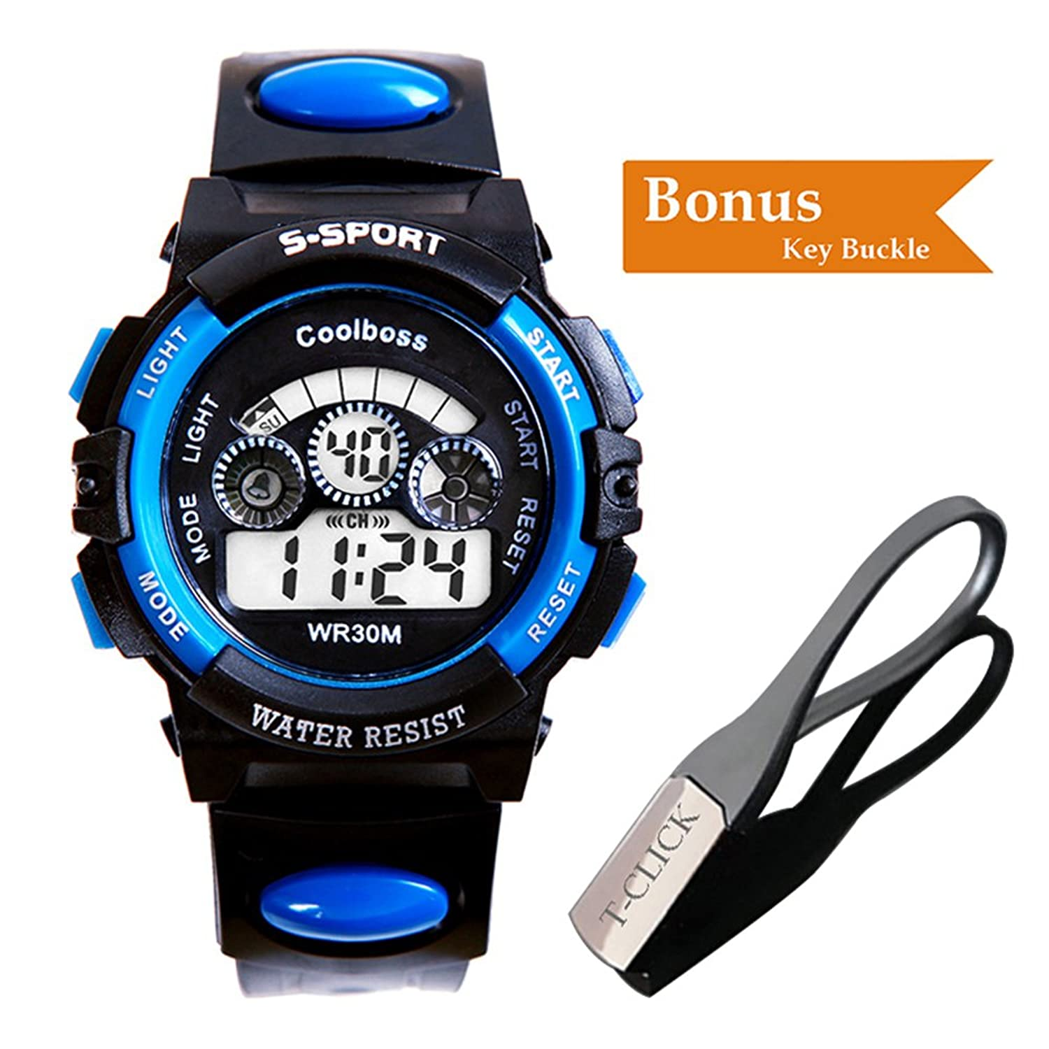 BoZZ CX0119 Multifunction 7-Color Led Light Digital S - Sport Wrist Watch (Blue For Over 10 Years Old )