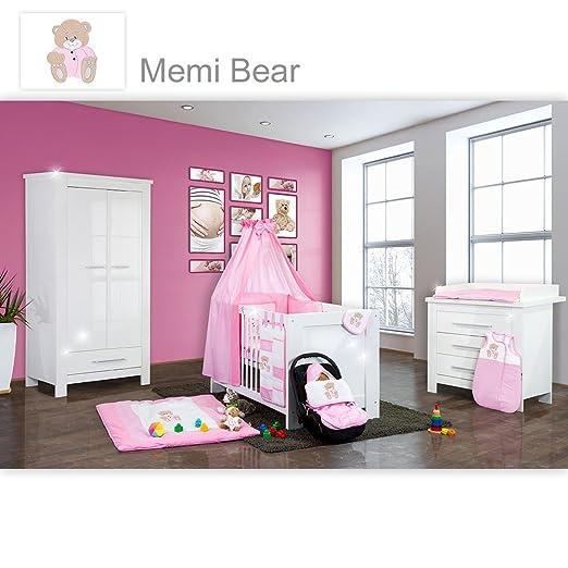 Babyzimmer Enni Hochglanz 19-tlg. mit 2 turigem Kl. + Textilien Memi Bear, Rosa