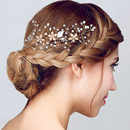 FAYBOX Vintage Gold Twig Crystal Pearl Side Combs Bridal Headpiece Wedding Accessories B