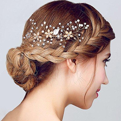 FAYBOX Vintage Gold Twig Crystal Pearl Side Combs Bridal Headpiece Wedding Accessories B
