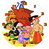 Xclusve Designer Chota Bheem And Friend Wooden Clock (30.5 X 30.5 X 30.5 Cms)