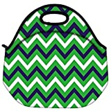Snoogg Green Waves Pattern 2540 Travel Outdoor Carry Lunch Bag Picnic Tote Box Container Zip Out Removable Carry Lunchbox Handle Tote Lunch Bag Food Bag For School Work Office
