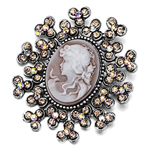 Pugster Classic Antique Lady Maiden Profile Oval Brown Beauty Cameo Light Colorado Topaz Floral Topaz Yellow Swarovski Crystal Diamond Accent Brooches Pins
