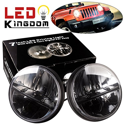 LEDKINGDOMUS 1pair (2pcs) 7 Inch H4 80W Round LED Headlight White For Harley Davidsion Motorcycle LJ TJ Daymaker Angel Eye & DRL LED Projection Headlight Kit for Jeep Applications (1 16 Suzuki Samurai Body compare prices)