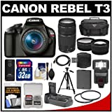 Canon EOS Rebel T3 Digital SLR Camera Body & EF-S 18-55mm IS & 75-300mm III Lens with 32GB Card + Battery + Grip + Case + Flash + Tripod + Filters + Tele Wide Lens Kit