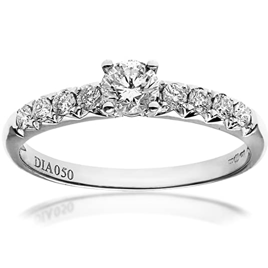 Naava 18ct White Gold Shoulder Set Engagement Ring, IJ/I Certified Diamonds, Round Brilliant