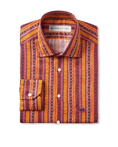 Etro Men's Spread Collar Native Pattern Long Sleeve Shirt