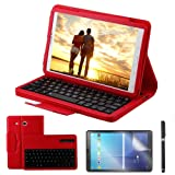 Galaxy Tab E 9.6 Keyboard Case with Screen Protector & Stylus, REAL-EAGLE Separable Fit PU Leather Case Cover Magnetically Wireless Keyboard for Tab E 9.6 Inch SM-T560,T561,T567,Red (Color: Red, Tamaño: Samsung Galaxy Tab E 9.6)