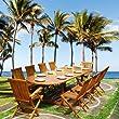 Salon de jardin teck huil� 10/12 personnes - Table ovale larg 100cm long 200/300cm + 8 chaises + 2 fauteuils pliants