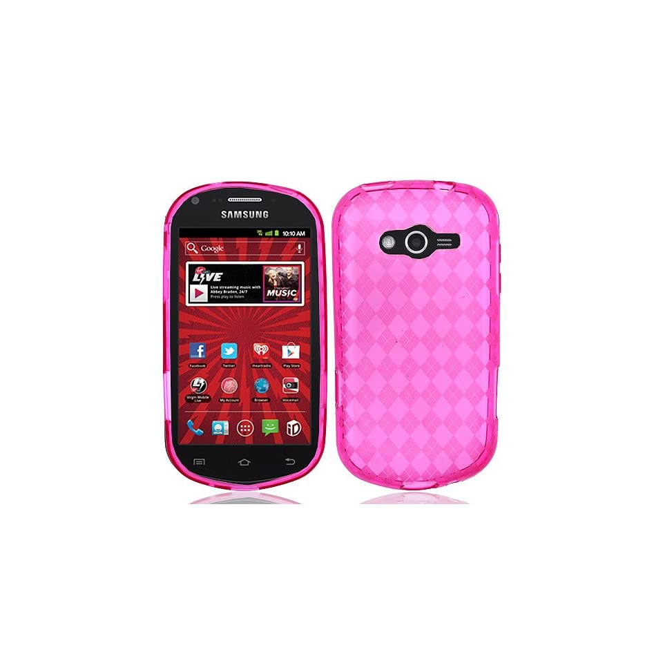 Transparent Clear Hot Pink Flex Cover Case for Samsung Galaxy Reverb SPH M950 Cell Phones & Accessories