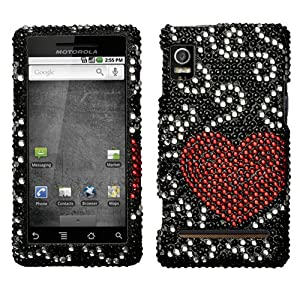Curve Heart Diamante Crystal Protector Phone Cover for Motorola DROID 2 A955 Verizon