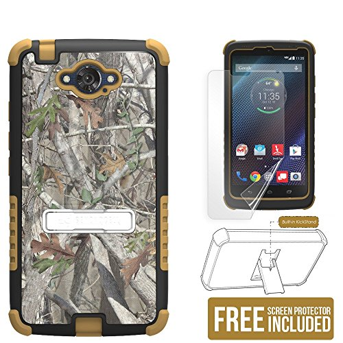 Droid Turbo case - Beyond CellTM Tri Shield Phone Armor Case With Built-in Metal Kickstand - Non Slip Slim Case for Motorola Droid Turbo and Ballistic Nylon 1 Year Warranty- Autumn Camouflage - Black Brown - FREE HD Screen Protector Retail Packaging