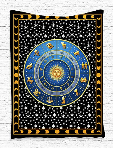 Zodiac Calendar and Sun Horoscopes with Crescent Moon and Stars Indian Mandala Design Digital Printed Tapestry Wall Hanging Wall Tapestry Living Room Bedroom Dorm Decor, Blue Gold Black White