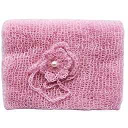 iEFiEL Newborn Baby Photography Prop Mohair Crochet Knit Wrap Blanket with Flower Headdress Headband (Pink)