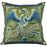 Phoenix Rising - Silky Embroidered Decorative Oriental Cushion Cover / Pillow Case - Green