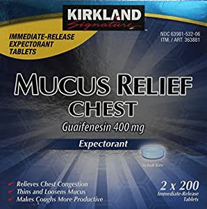 Kirkland Signature Mucus Relief Chest Expectorant (Guaifenesin 400 mg), Immediate-Release Tablets (2 pack of 200 count, 400 Tablets Total)