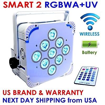 SMART 2 RGBWA+UV LED 9x18W Battery Powered WIRELESS DMX Par Can DJ Uplighting Up Light WHITE
