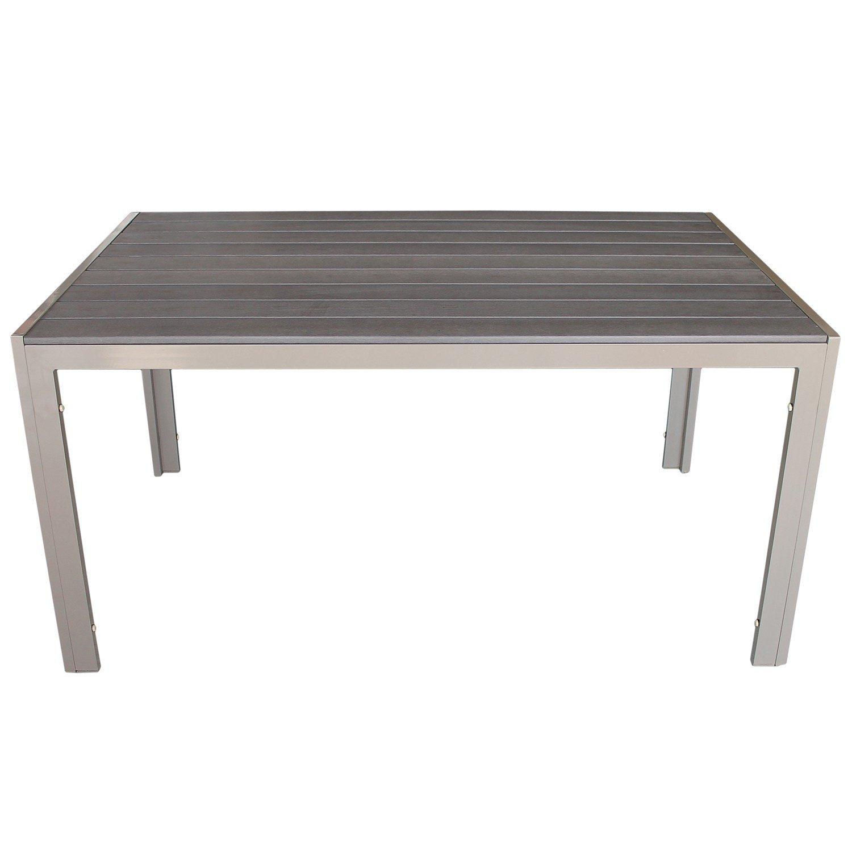 Aluminium Gartentisch mit Polywood Tischplatte 150x90cm Balkonmöbel Terrassenmöbel Gartenmöbel Esstisch Esszimmertisch Champagnerfarben günstig