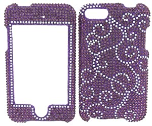 PUPRLE WITH SILVER SWIRLS DIVA CRYSTALS snap on cover faceplate for Apple Ipod Itouch 2 & 3