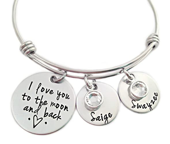 I Love You to the Moon and Back Personalized Bracelet