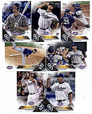 2016 Topps Opening Day San Diego Padres Team Set of 7 Cards: Derek Norris(#OD-4), James Shields(#OD-14), Colin Rea(#OD-36), Wil Myers(#OD-120), Odrisamer Despaigne(#OD-157), Matt Kemp(#OD-165), Tyson Ross(#OD-185) in Protective Snap Case-SEALED