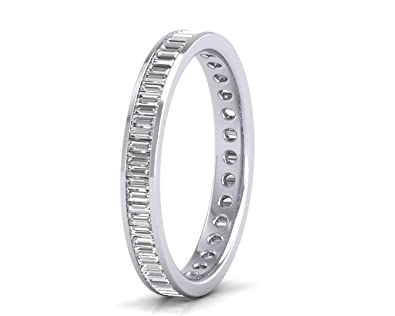 0.60carat Baguette Cut Diamond Ring Full Eternity Wedding Ring in 9K White Gold