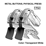Mobile Game Controller, Metallic Aim and Capacitive Sensitive Press Shooting Buttoms L1 R1 for Knives Out/Rules of Survival, Mobile Phone Joystick for Android iPhone iOS 1 Pair (Clear) (Color: Clear)