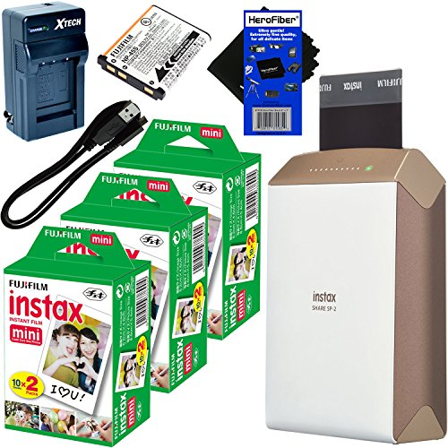 Fujifilm-instax-SHARE-Smartphone-Printer-SP-2-Gold-International-Version-No-Warranty-Instax-Mini-Instant-Film-60-sheets-Rechargeable-Battery-ACDC-Charger-HeroFiber-Cleaning-Cloth