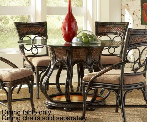 Cheap 48″ Round Dining Table Glass Top Rattan Pedestal Base in Dark Brown (PW-816-403-GC2)