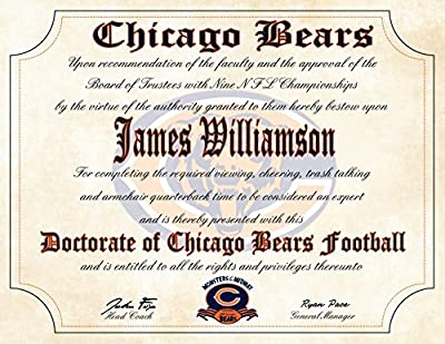 "Chicago Bears Ultimate Fan Personalized Diploma - Perfect Gift - 8.5"" x 11"" Parchment Paper"